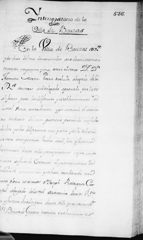 """Fernando VI mediante una Real Orden de 1749, ordenó realizar un Catastro que llevaría el nombre de Catastro de Ensenada. Esta es la primera hoja del """"Interrogatorio de Bouzas""""."""