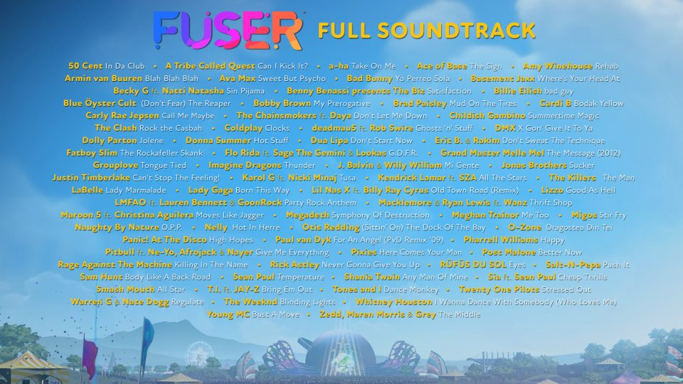 A look at some of the songs in Fuser