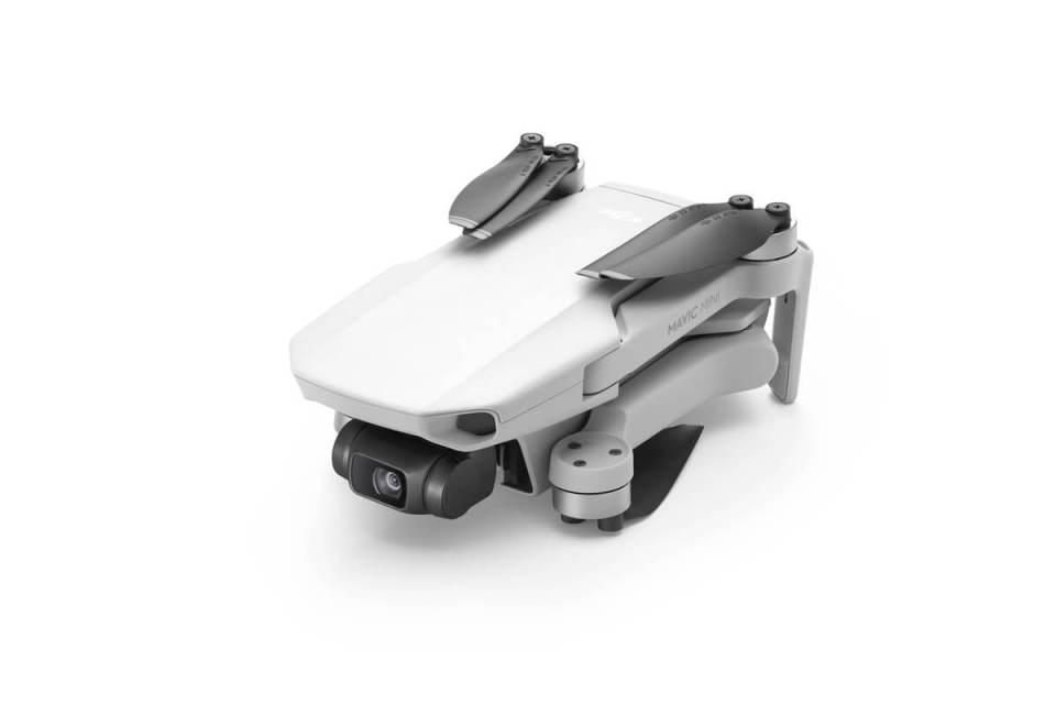 The small DJI Mavic Mini Drone folded up