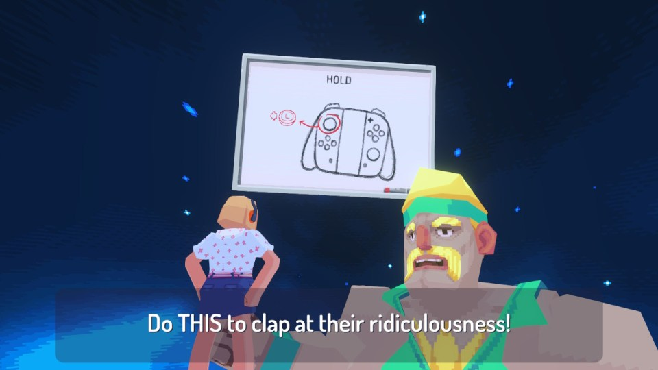 The main character standing before a giant 90s style fitness instructor, with a board showing joycon controllers floating in a starlit sky.