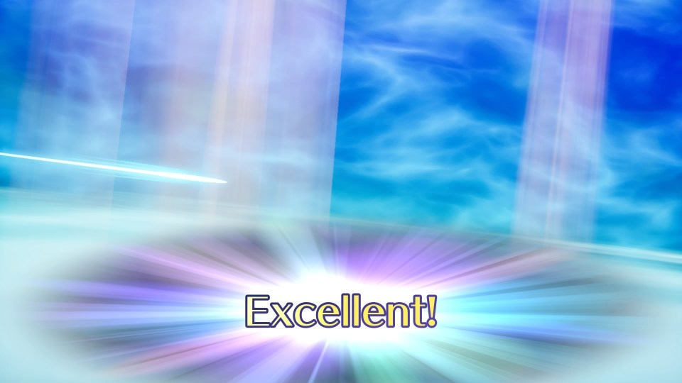 """The word """"Excellent!"""" is printed over a blue void."""