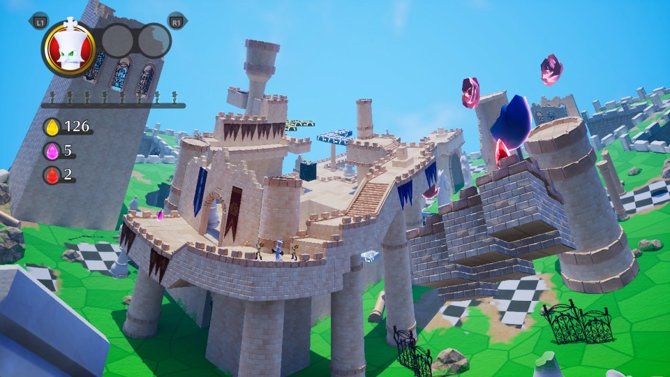 Looking out across the chess-themed castle stage.
