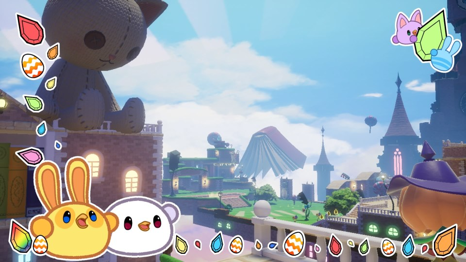A giant plush cat looks out over Balan's Wonderworld.