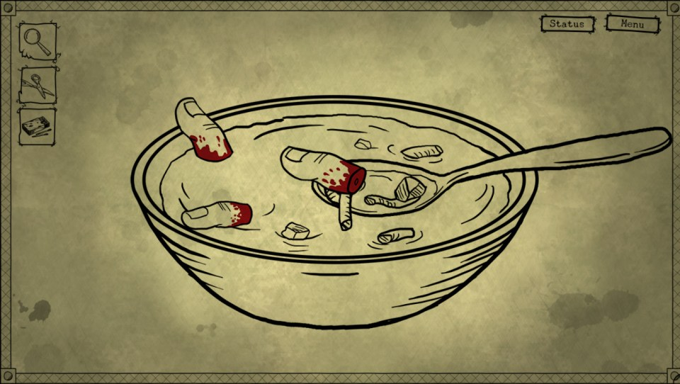 A hand drawn scene of a bowl of soup with bloody fingers floating inside.