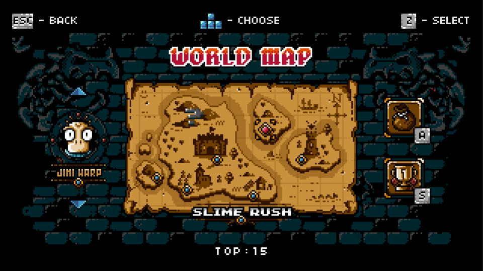 The world map in Jet Set Knights