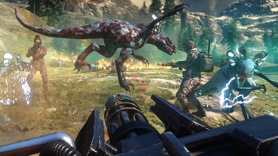 Mutated dinosaur running away from human characters with guns in Second Extinction