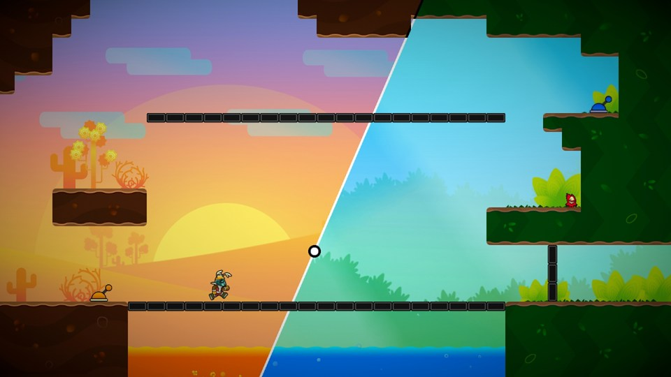 A world split in two diagonally. Orange sunset on the left and a green forest hue on the right