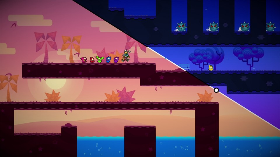 A purple desert on the left with a 2D blue tree on the right