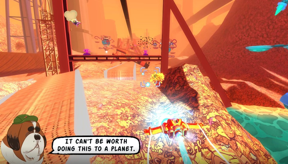 The Redpaw ship of the Astrodogs flying through a fiery building site-based level.  Astrodogs PC Review Rapid Reviews UK