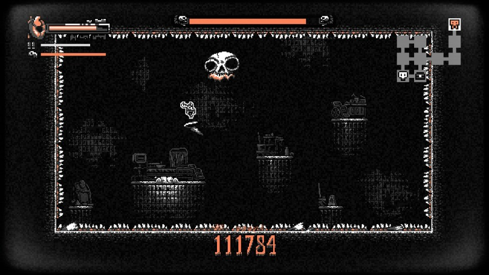 Player is using their dodge in the air, creating a tornado around them while a boss is dropping teeth on them.