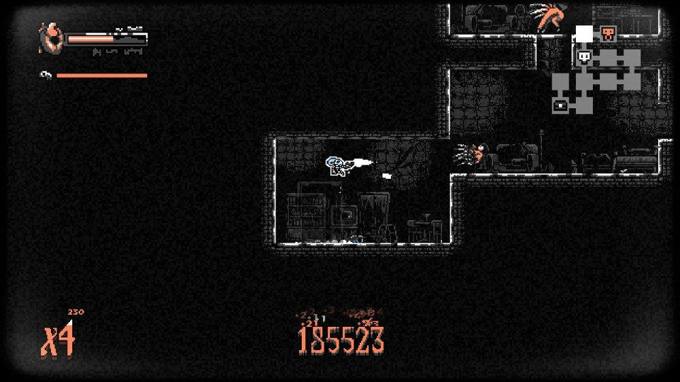 the player is shooting a pistol at a flying monster.
