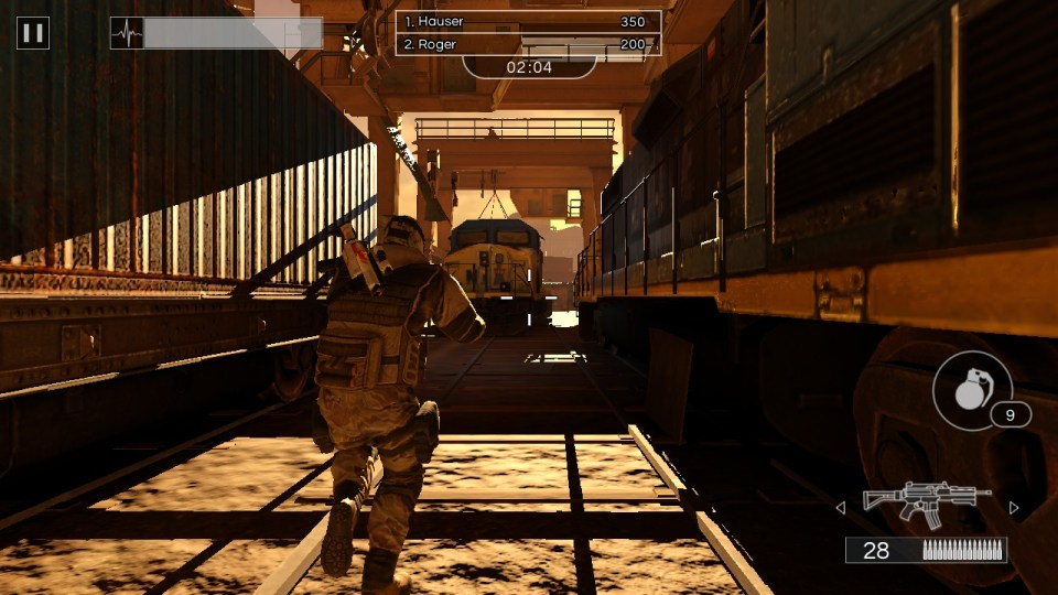 A soldier running towards a train
