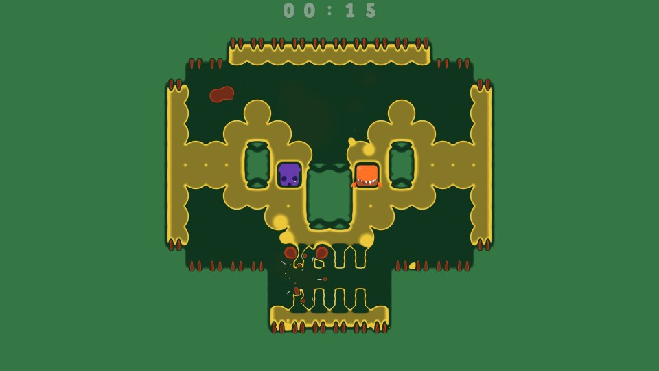 Two spitlings float in the middle of a skull-shaped level.