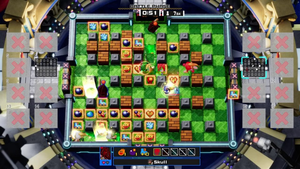 Super Bomberman R Online powerups scattered across the arena