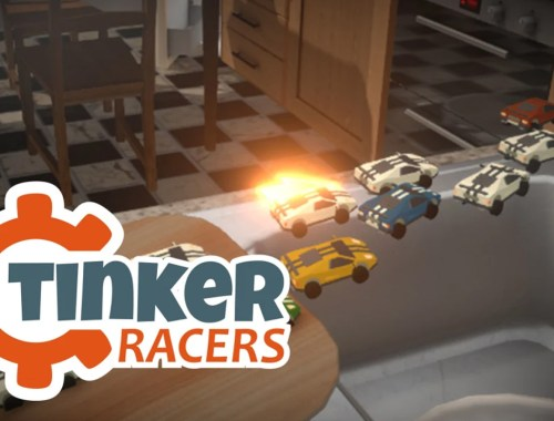 Key art for Tinker Racers showing multiple cars making a jump behind the game logo