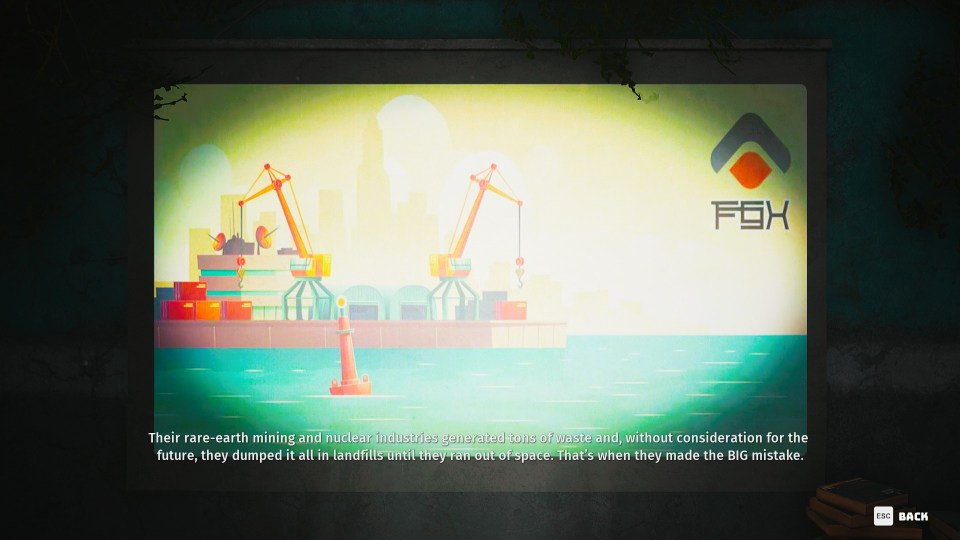 A projector screen showing a graphic of dockside cranes by the sea.