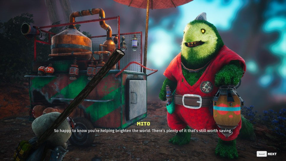 A giant, green, furry creature called Mito says 'So happy to know you're helping brighten the world. There's plenty of it that's still worth saving.'