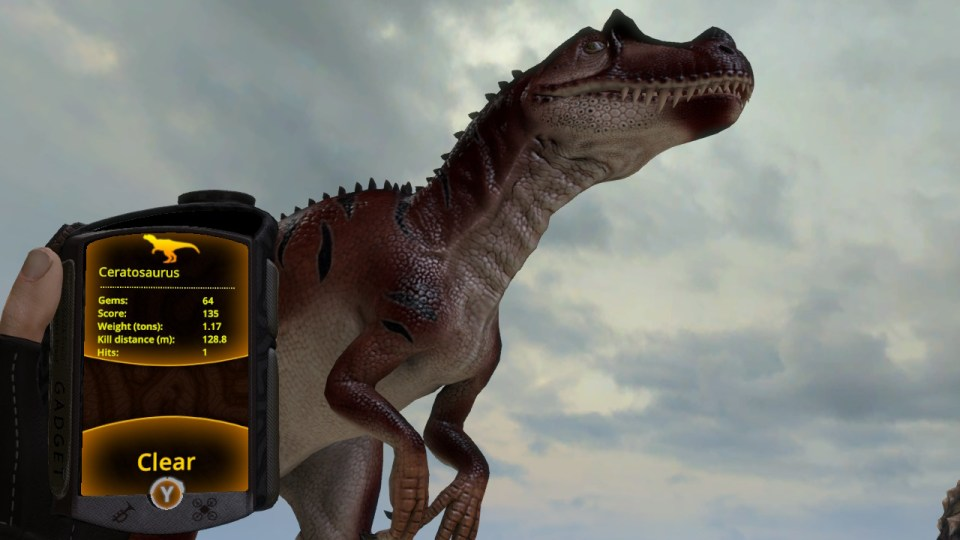 Viewing a trophy through the gadget in the game Carnivores: Dinosaur Hunt