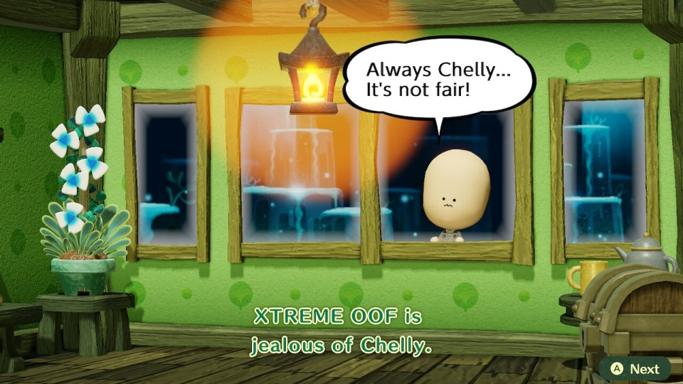 A Mii looks through a window with a speech bubble saying 'Always Chelly...It's not fair!' with subtitles at the bottom saying XTREME OOF is jealous of Chelly.'