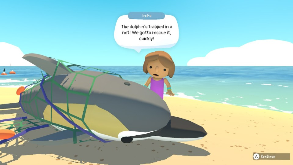 A dolphin stranded on a beach with a character named Inés saying 'the dolphin's trapped in a net! We gotta rescue it, quickly!' in a speech bubble