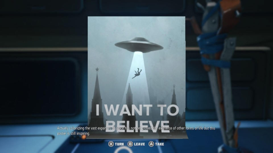 """A poster with a UFO. Text : """"I WANT TO BELIEVE"""""""