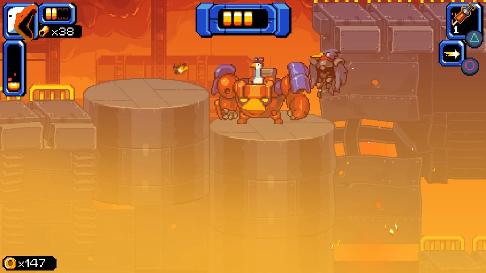 Goose is piloting a mech suit in a heated lava filled factory.