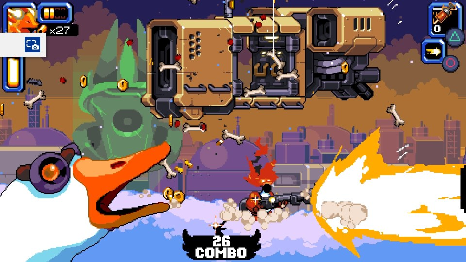 The mighty goose in the center of the screen shooting a massive shotgun blast on the right side of the screen/ above him is a spaceship, and to his left is a goose honking.
