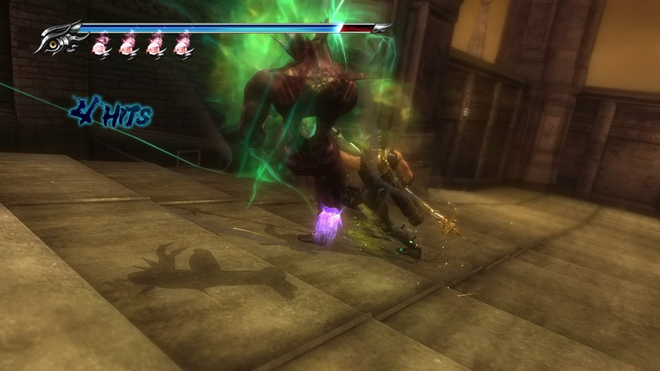 Ryu executing a fiend, glowing with pulsating green energy.