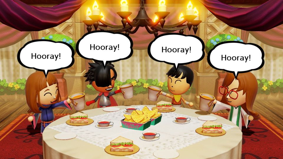 Four Miis shouting 'hooray!' sit around a dinner table with sandwiches, cups of tea and nachos in the middle.