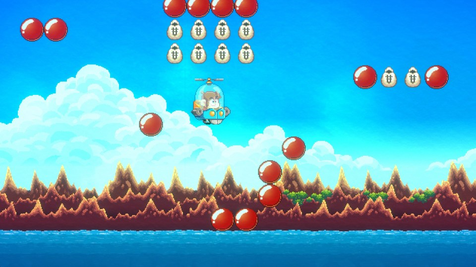 Alex Kidd flying in a mini copter, avoiding obstacles