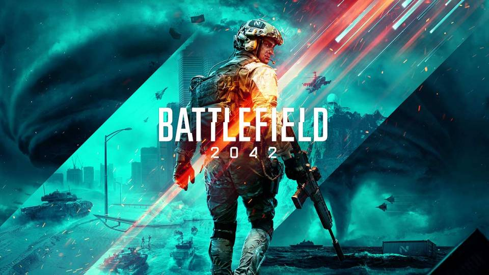 A soldier stands behind with TEXT : BATTLEFIELD 2042