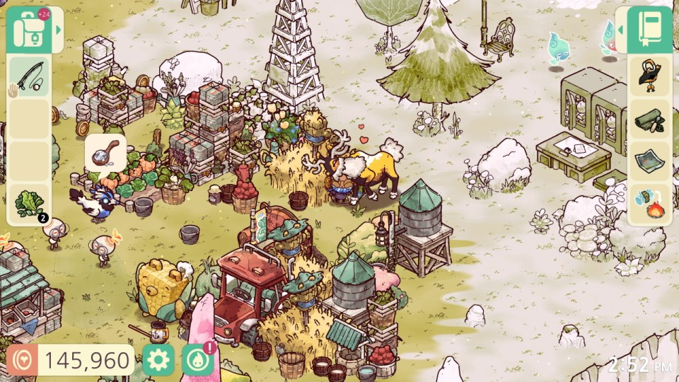 A look at the painterly art style and UI in Cozy Grove, with inventory menus on either side