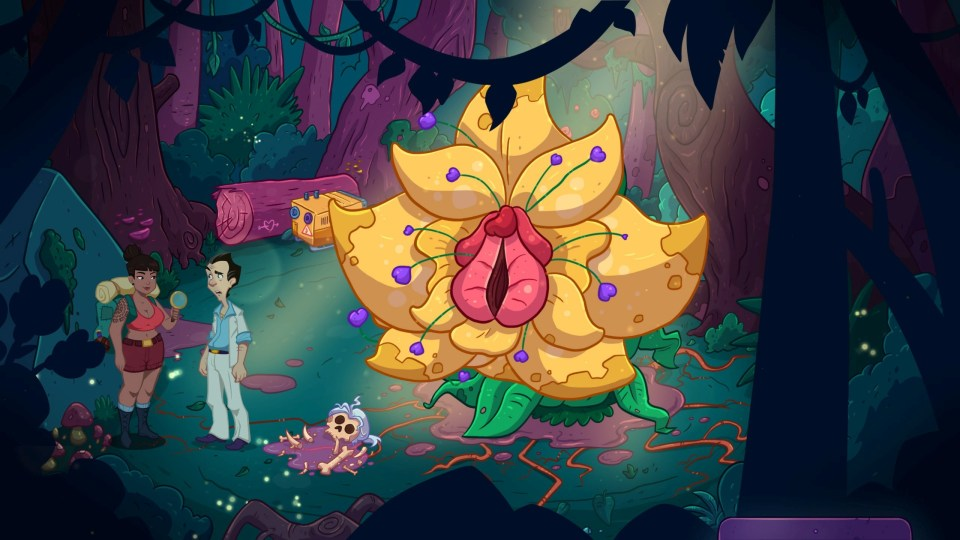 Leisure Suit Larry: Wet Dreams Dry Twice screenshot showing Larry exploring an environment with a giant flower in the background