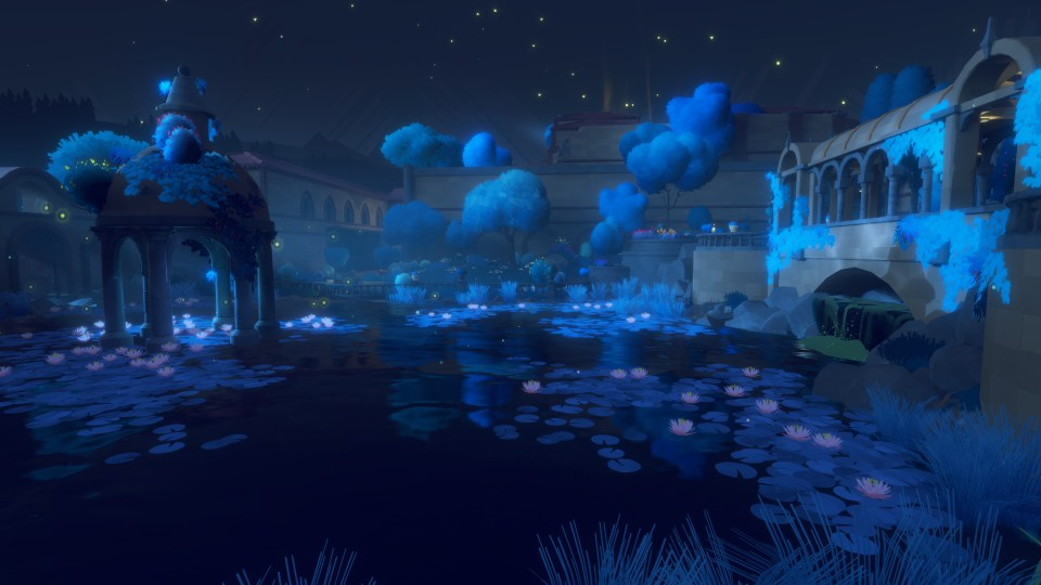 Game screenshot showing a picturesque scene over a lake with a blue hue.