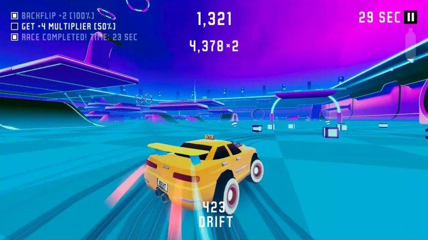 drifting through a gate with a taxi