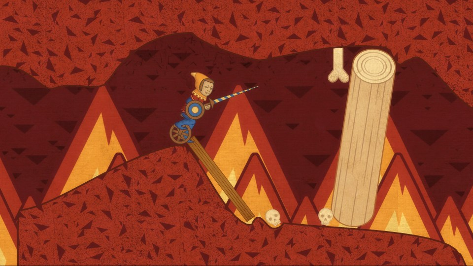 The balancing character traversing through a hellish landscape filled with fire.