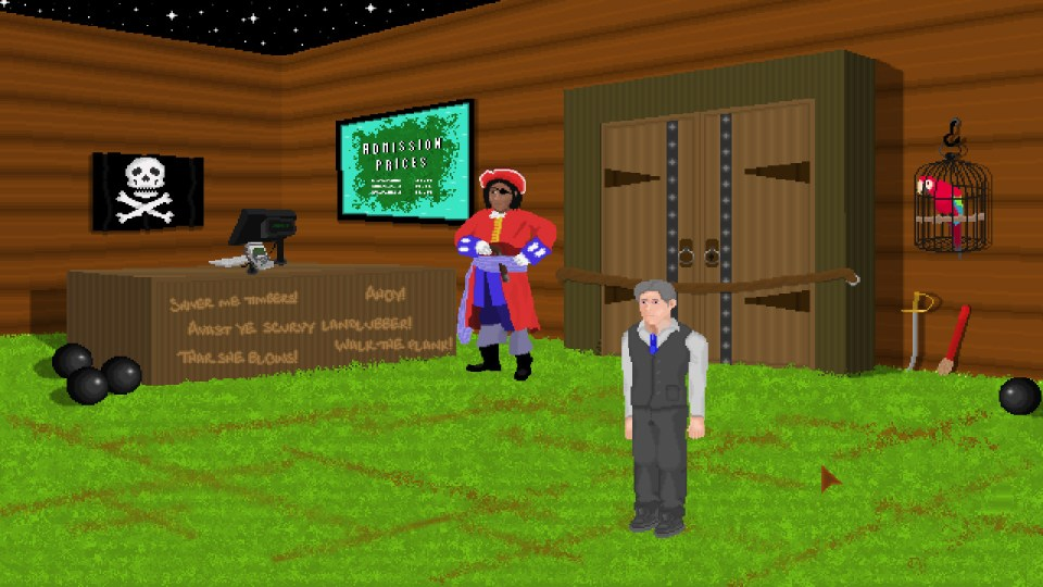 A pirate and male character in a room with a reception desk and grassy floor in the game Trails and Traces