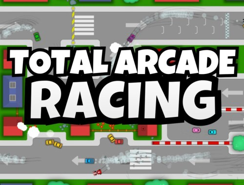 Key art for Total Arcade Racing showing the game's title with cars racing on a track in the background