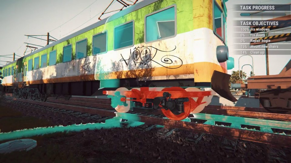A graffitied train on railway tracks in the game Train Station Renovation.