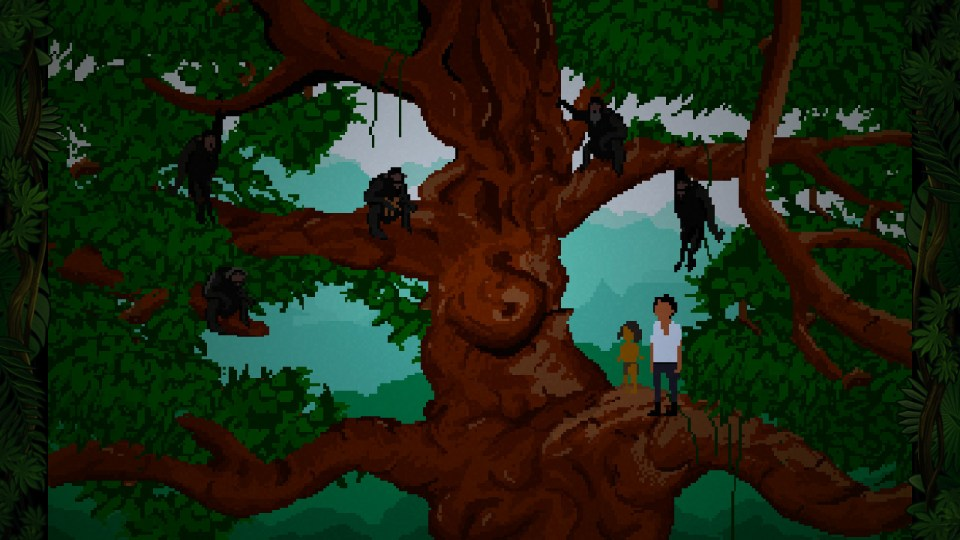 Screenshot from the game that shows Yandi in a tree with a young boy and a group of monkeys.