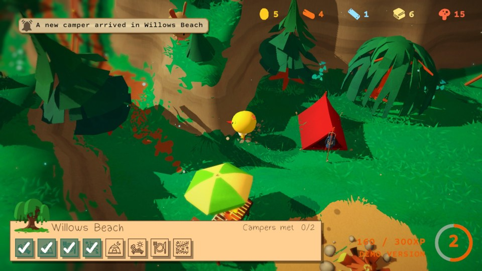 Flint, a yellow bird, stands in a forested camp site with a tent and a BBQ covered by an umbrella. A notification in the top left corner says 'A new camper arrived in Willows Beach'.