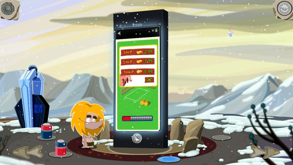 massive smart phone with a mobile game asking for in game currency