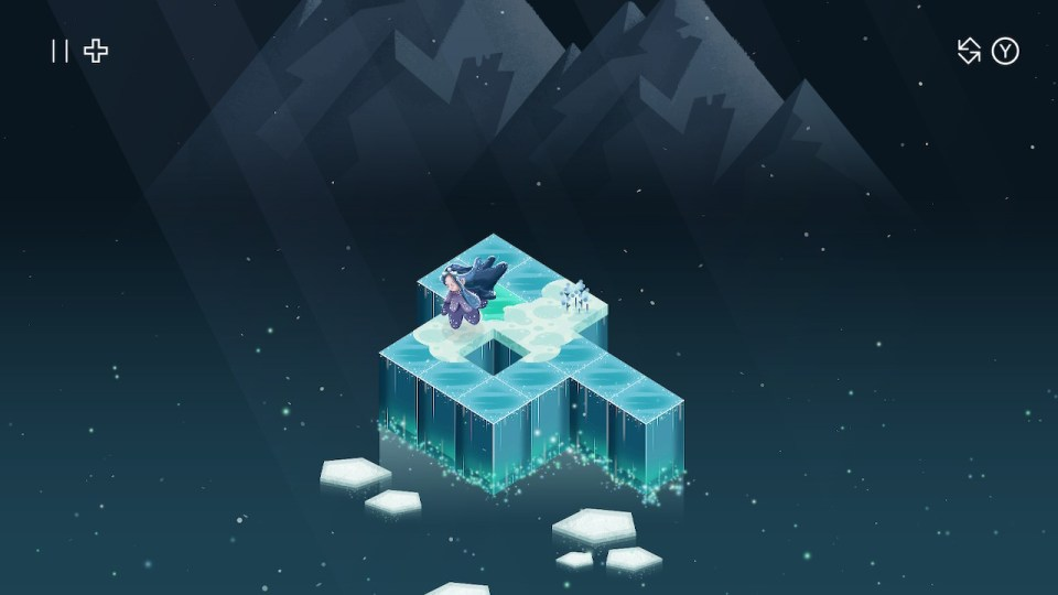 The player character leaves a trail on an ice-themed puzzle stage