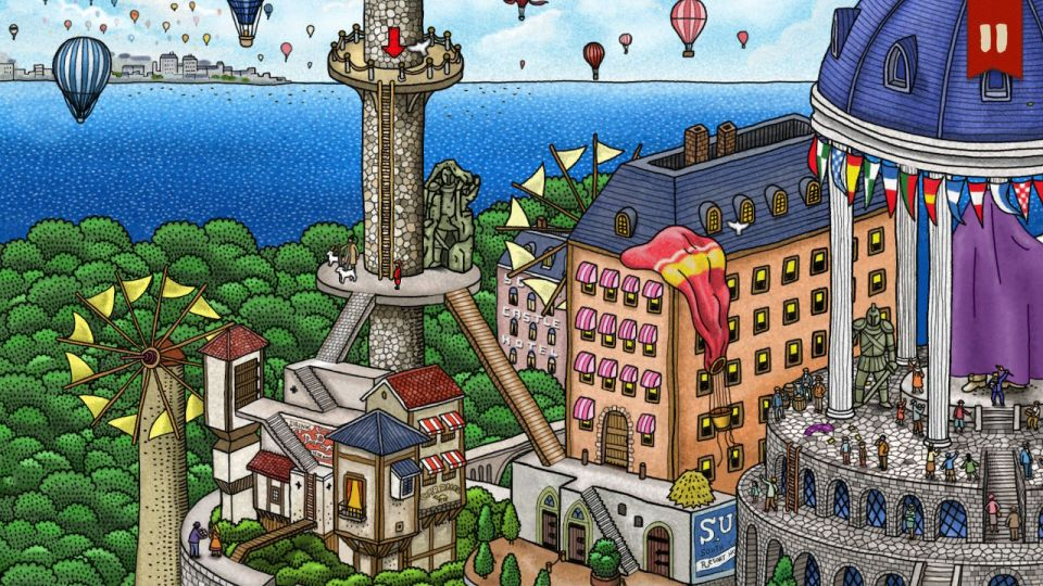 Pierre stands on a tower overlooking the sea in one direction, and a town in the other.