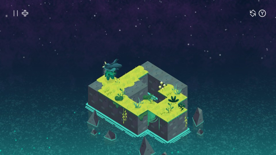 The player character spreads grass on a rocky level surrounded by water and a starry sky