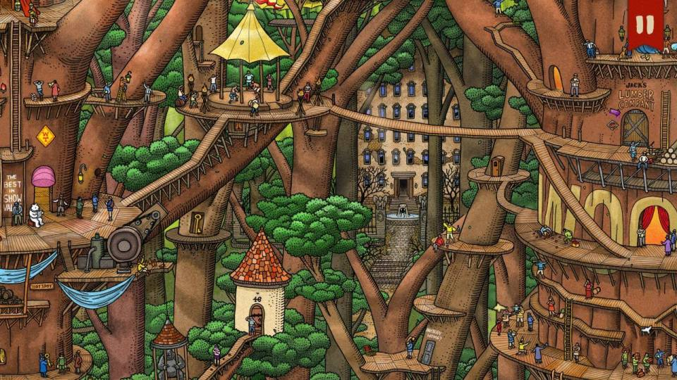 Pierre explores wooden platforms built high in the air around giant trees.