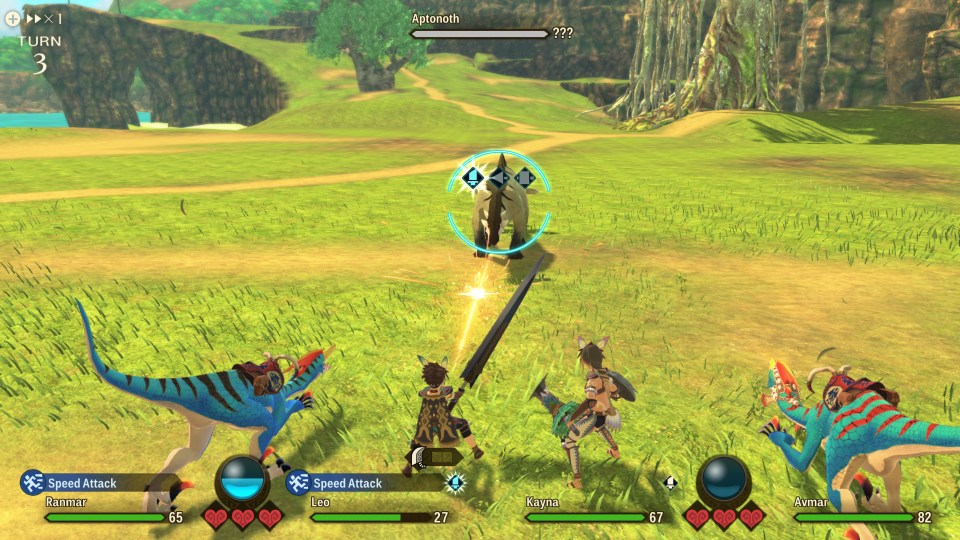 An example of the battle system in Monster Hunter Stories 2