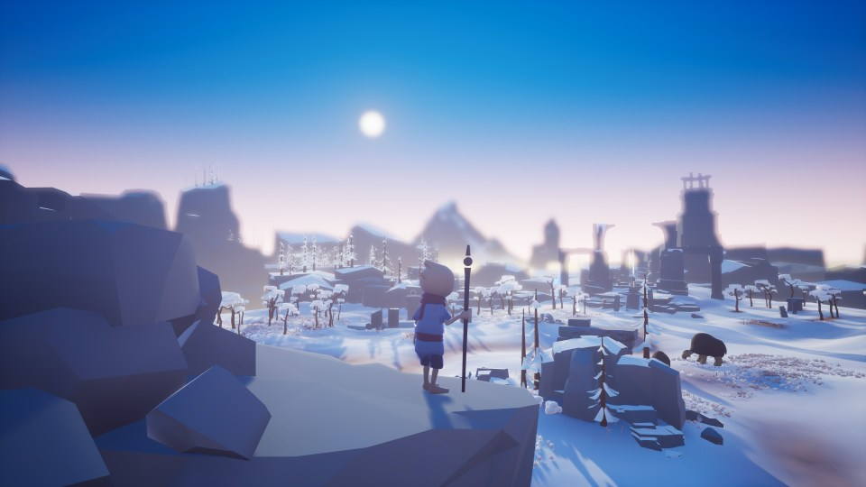 The main character in Omno surveys a rocky landscape covered in ice and snow