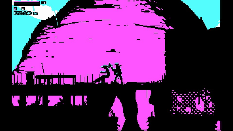 Atop a mountain, the player, holding a mace, stands dangerously close to an older man