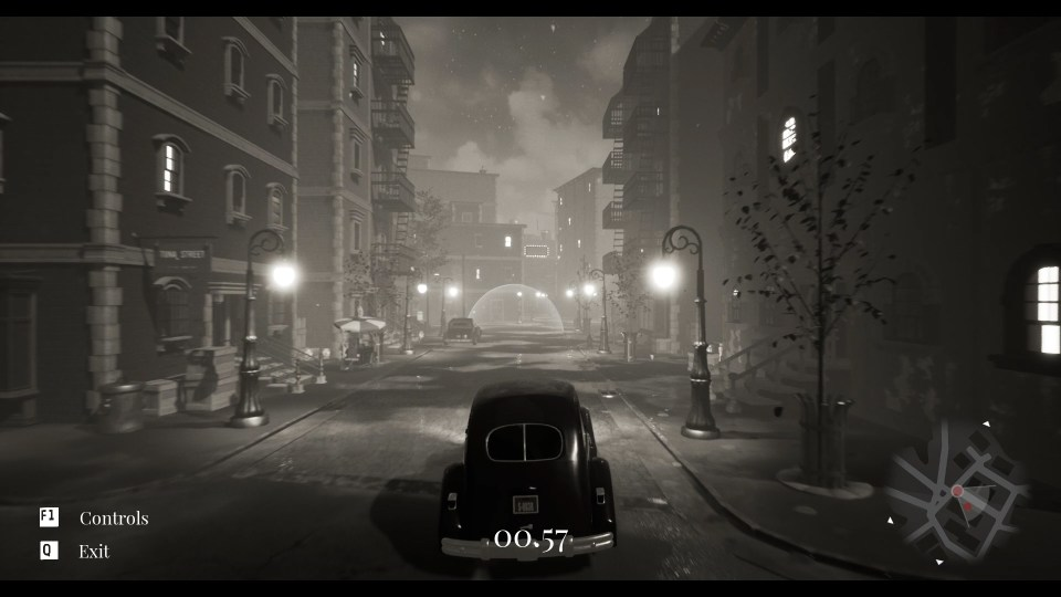 A 1940s car drives down an empty, building-lined street at night